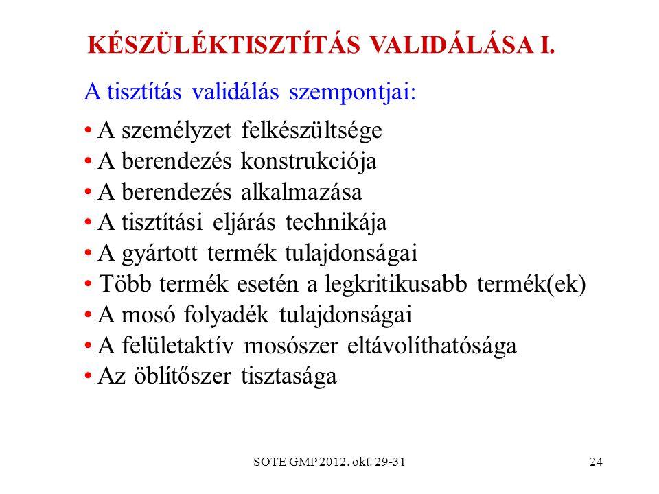 SOTE GMP 2012. okt. 29-3124 KÉSZÜLÉKTISZTÍTÁS VALIDÁLÁSA I. A tisztítás validálás szempontjai: A személyzet felkészültsége A berendezés konstrukciója