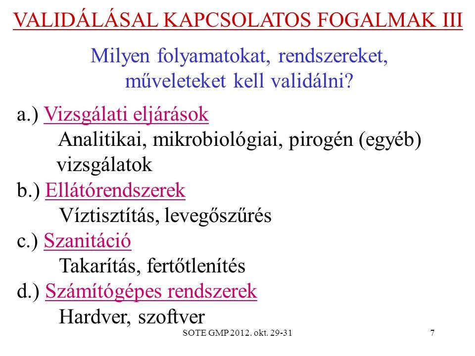 SOTE GMP 2012. okt. 29-317 VALIDÁLÁSAL KAPCSOLATOS FOGALMAK III Milyen folyamatokat, rendszereket, műveleteket kell validálni? a.) Vizsgálati eljáráso