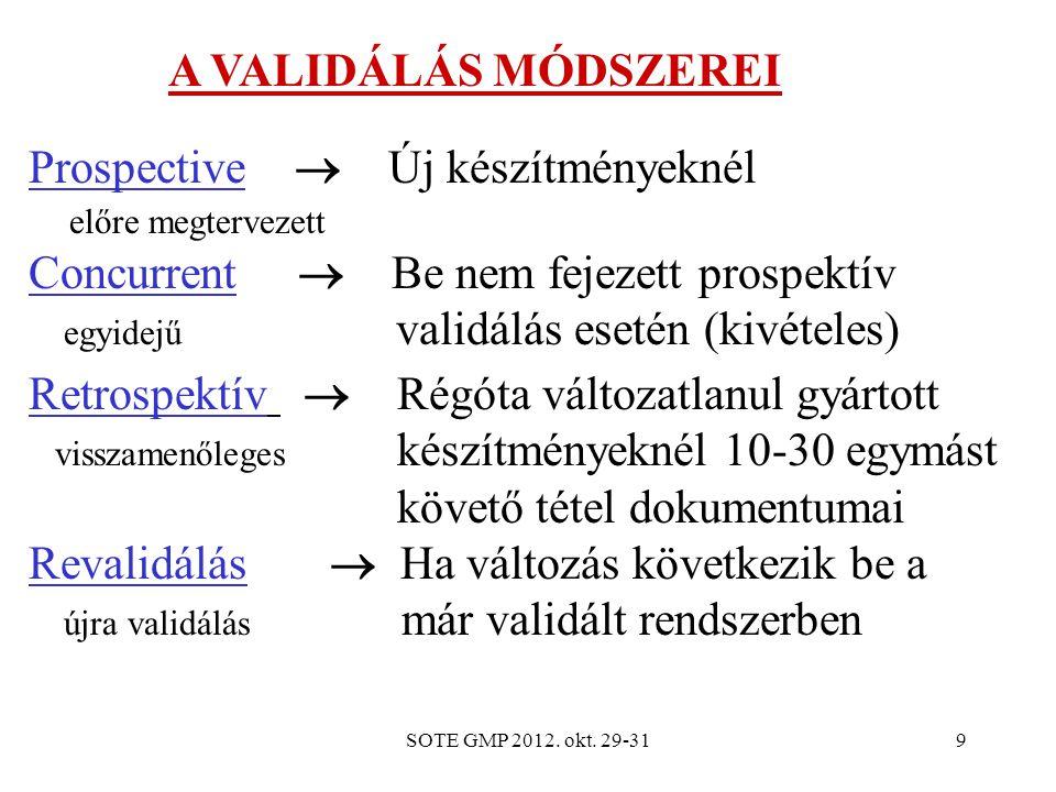 SOTE GMP 2012. okt. 29-319 Prospective  Új készítményeknél előre megtervezett Concurrent  Be nem fejezett prospektív egyidejű validálás esetén (kivé