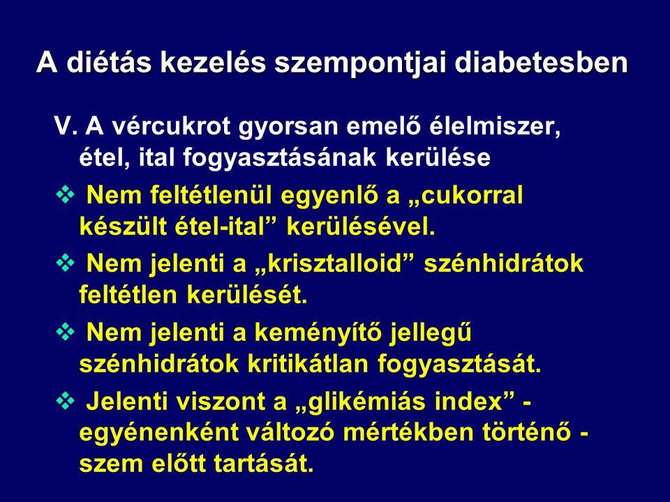 A diétás kezelés szempontjai diabetesben IV. Az egyes étkezések szénhidrát tartalma