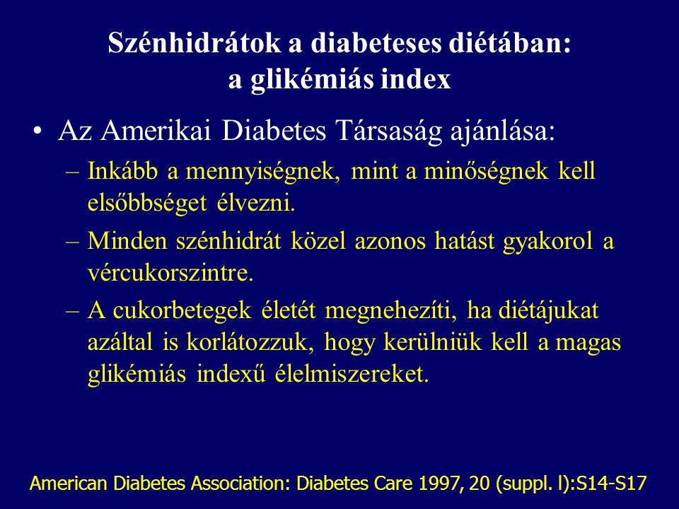 A glikémiás index Az alacsony glikémiás indexű élelmiszerek: –csökkentik a postprandialis vércukor emelkedést, –mérséklik a postprandialis inzulin vál
