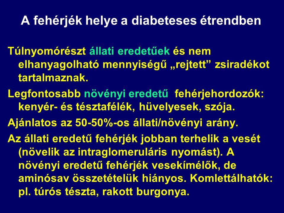 A szénhidrátok helye és szerepe a diabeteses étrendben Keményítő: Beszámítandó szénhidrátok:  Amilóz tartalmú lisztesárúk (spagetti, makaróni) alacso