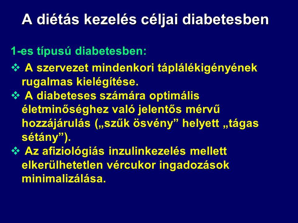 A diétás kezelés szükségessége diabetesben 2-es típusú diabetesben:  Inzulin nélkül kezelt 2-es típusú diabetesben:  az étkezési inzulin első fázisá