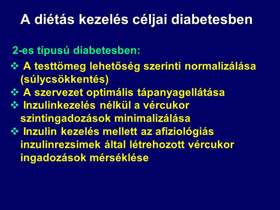 A diétás kezelés céljai diabetesben 1-es típusú diabetesben:  A szervezet mindenkori táplálékigényének rugalmas kielégítése.  A diabeteses számára o