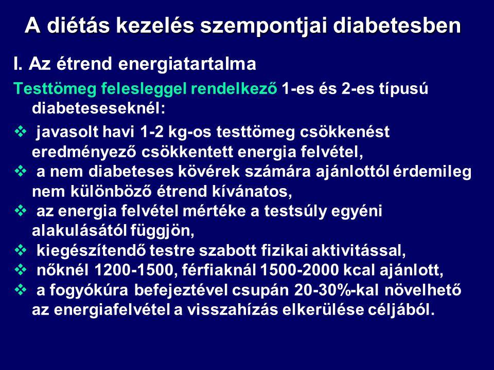 A diétás kezelés szempontjai diabetesben I. Az étrend energiatartalma Normális testtömegű 1-es és 2-es típusú diabeteseseknél az energia bevitel:  bi