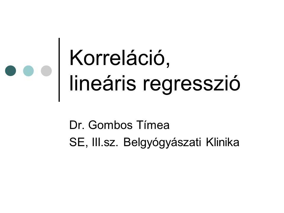 Korreláció, lineáris regresszió Dr. Gombos Tímea SE, III.sz. Belgyógyászati Klinika