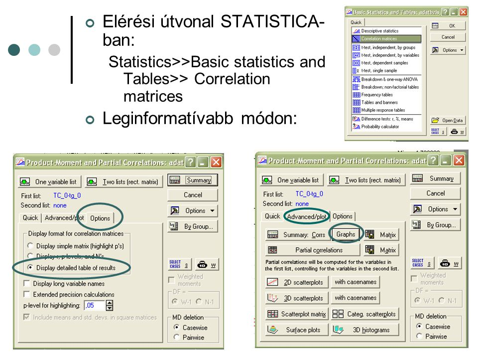 Elérési útvonal STATISTICA- ban: Statistics>>Basic statistics and Tables>> Correlation matrices Leginformatívabb módon: