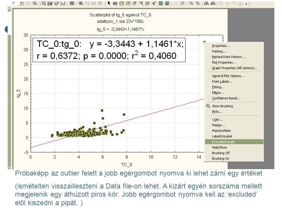 Próbaképp az outlier felett a jobb egérgombot nyomva ki lehet zárni egy értéket (ismételten visszailleszteni a Data file-on lehet. A kizárt egyén sors