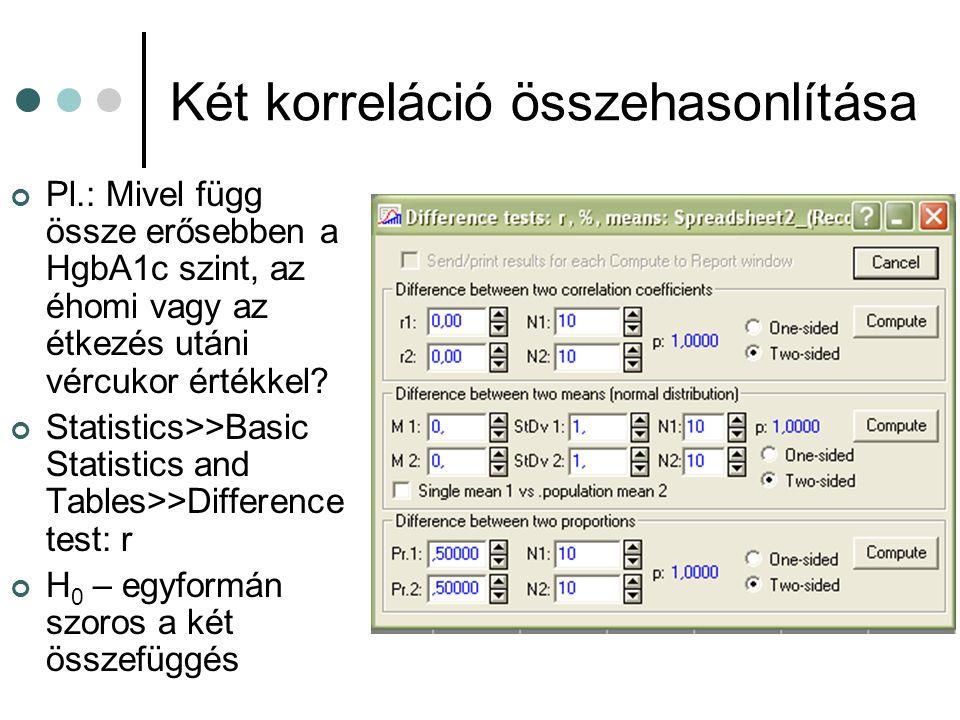 Két korreláció összehasonlítása Pl.: Mivel függ össze erősebben a HgbA1c szint, az éhomi vagy az étkezés utáni vércukor értékkel? Statistics>>Basic St