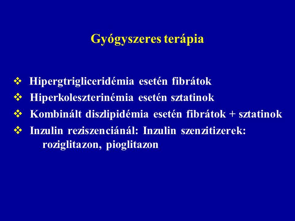 Gyógyszeres terápia  Hipergtrigliceridémia esetén fibrátok  Hiperkoleszterinémia esetén sztatinok  Kombinált diszlipidémia esetén fibrátok + sztati
