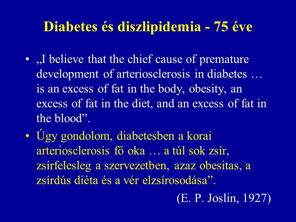  Érelmeszesedés (nagyér betegség: makroangiopátia) 2-es típusú diabetesben  A betegségek és halálozás fő oka  2-5-ször gyakoribb, mint nem diabeteses egyénekben  Gyakorisága nő  A diabetes erősen fokozza a nagyér betegség kockázatát  Ez a kockázati helyzet már a diagnózis felállításakor is jelen van  A diabetes önmagában oly mértékű kockázatot jelent, mint amivel egy nagyér betegségen átesett nem cukorbeteg egyén rendelkezik Diabeteses makroangiopátia