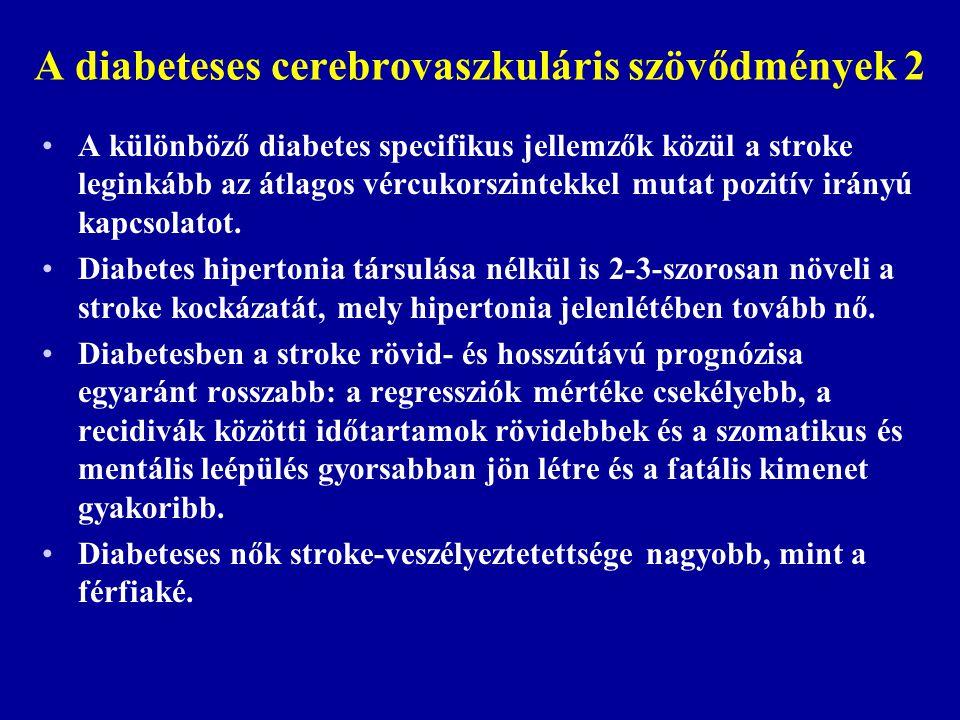 A diabeteses cerebrovaszkuláris szövődmények 2 A különböző diabetes specifikus jellemzők közül a stroke leginkább az átlagos vércukorszintekkel mutat