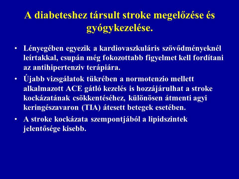 A diabeteshez társult stroke megelőzése és gyógykezelése. Lényegében egyezik a kardiovaszkuláris szövődményeknél leírtakkal, csupán még fokozottabb fi