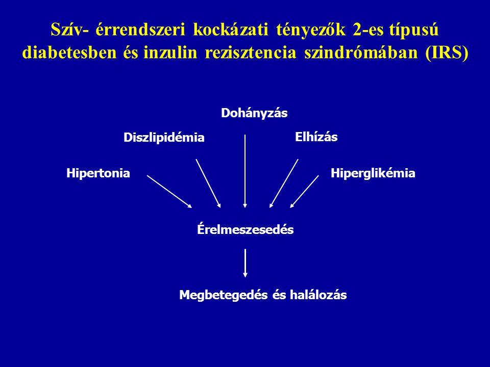 Hipertonia Diszlipidémia Dohányzás Hiperglikémia Elhízás Érelmeszesedés Megbetegedés és halálozás Szív- érrendszeri kockázati tényezők 2-es típusú dia