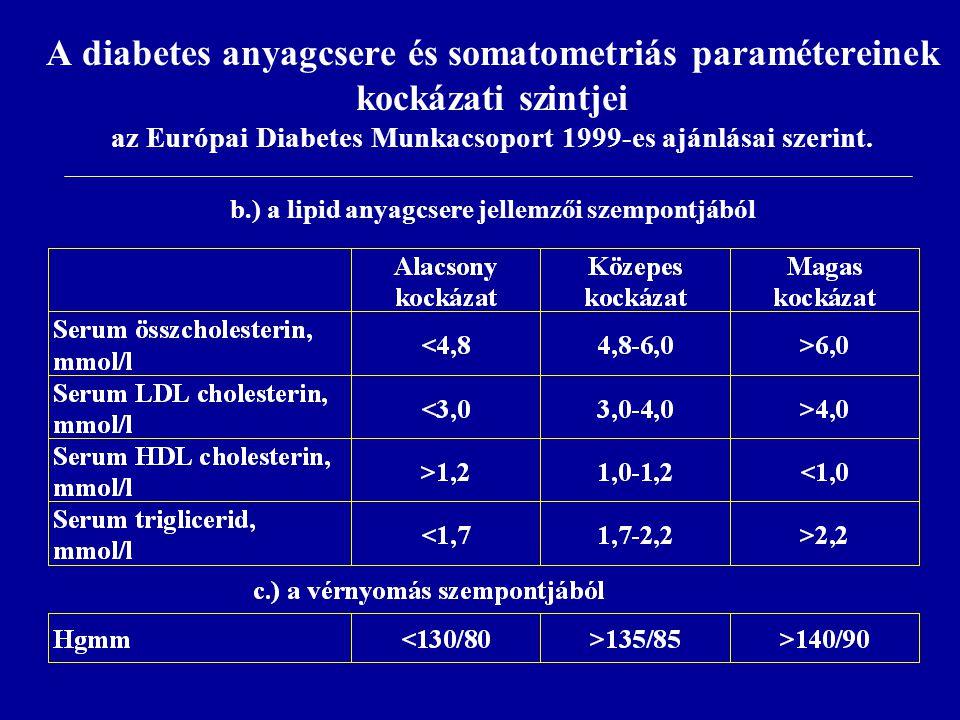A diabetes anyagcsere és somatometriás paramétereinek kockázati szintjei az Európai Diabetes Munkacsoport 1999-es ajánlásai szerint. b.) a lipid anyag