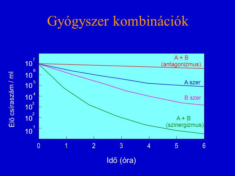 Gyógyszer kombinációk A szer B szer A + B (antagonizmus) A + B (szinergizmus) 10 1 2 3 4 5 6 7 Élő csíraszám / ml Idő (óra)
