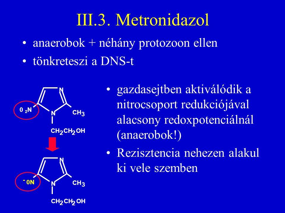 III.3. Metronidazol anaerobok + néhány protozoon ellen tönkreteszi a DNS-t N CH 3 CH CH OH 2 2 0N - N N CH 3 CH CH OH 2 2 N 0 2 N gazdasejtben aktivál