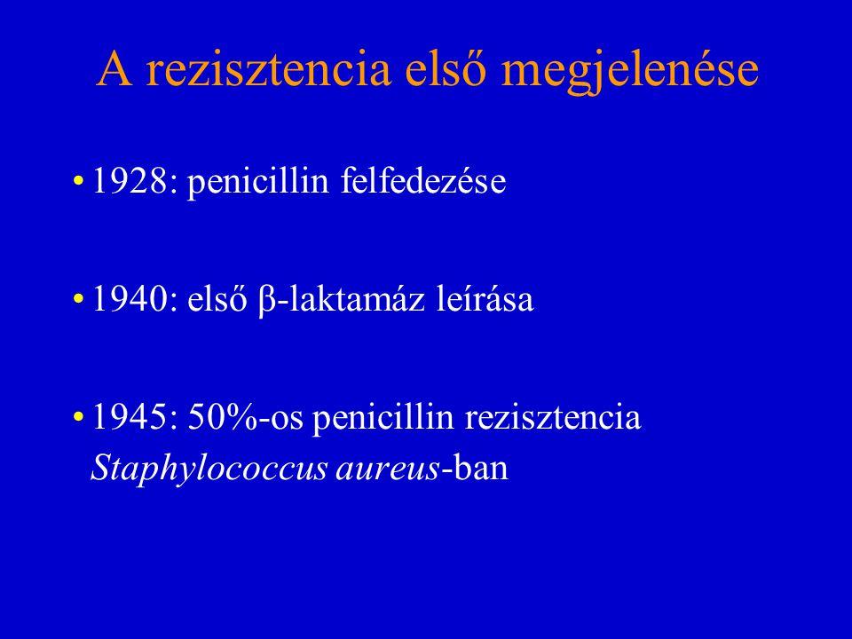 A rezisztencia első megjelenése 1928: penicillin felfedezése 1940:első β-laktamáz leírása 1945:50%-os penicillin rezisztencia Staphylococcus aureus-ba