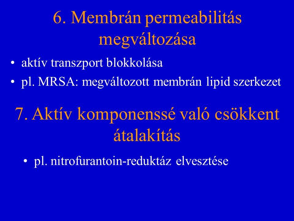 6. Membrán permeabilitás megváltozása aktív transzport blokkolása pl. MRSA: megváltozott membrán lipid szerkezet 7. Aktív komponenssé való csökkent át