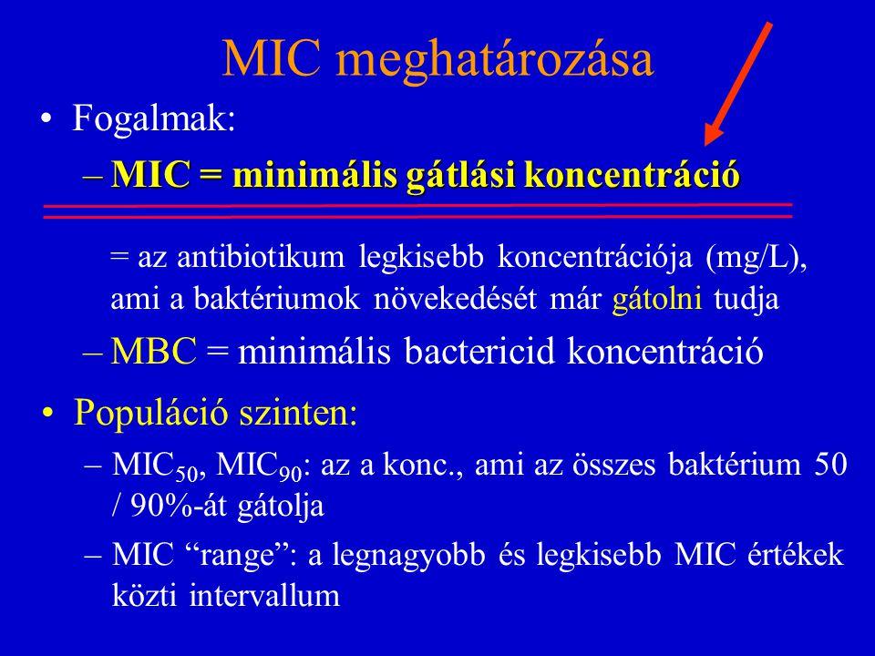 MIC meghatározása Fogalmak: –MIC = minimális gátlási koncentráció = az antibiotikum legkisebb koncentrációja (mg/L), ami a baktériumok növekedését már