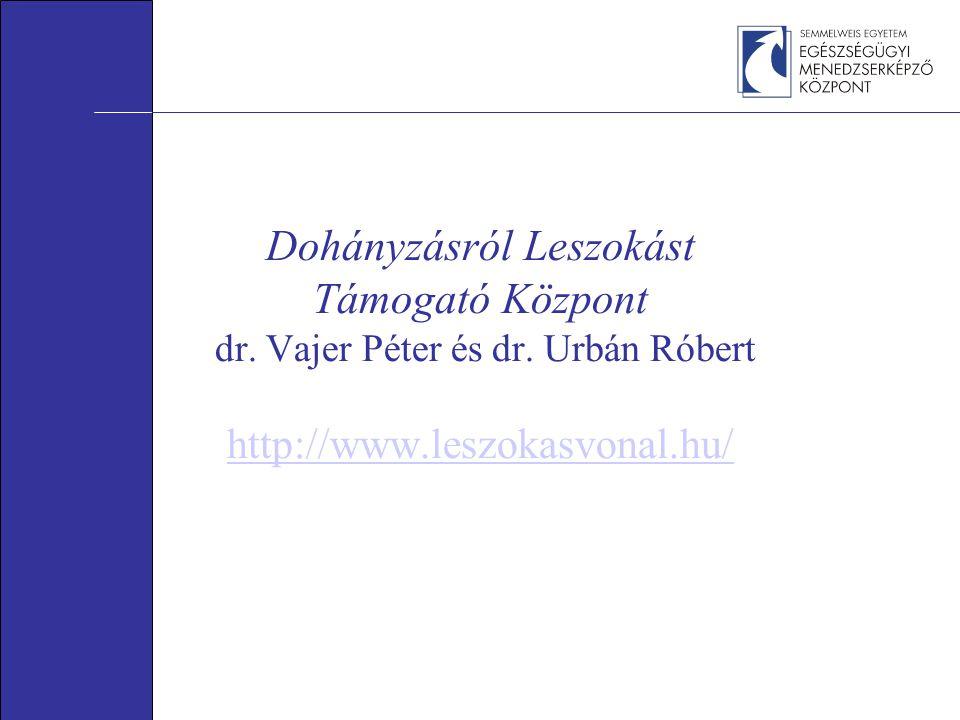 Dohányzásról Leszokást Támogató Központ dr. Vajer Péter és dr. Urbán Róbert http://www.leszokasvonal.hu/ http://www.leszokasvonal.hu/