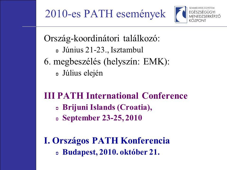 2010-es PATH események Ország-koordinátori találkozó:  Június 21-23., Isztambul 6. megbeszélés (helyszín: EMK):  Július elején III PATH Internationa