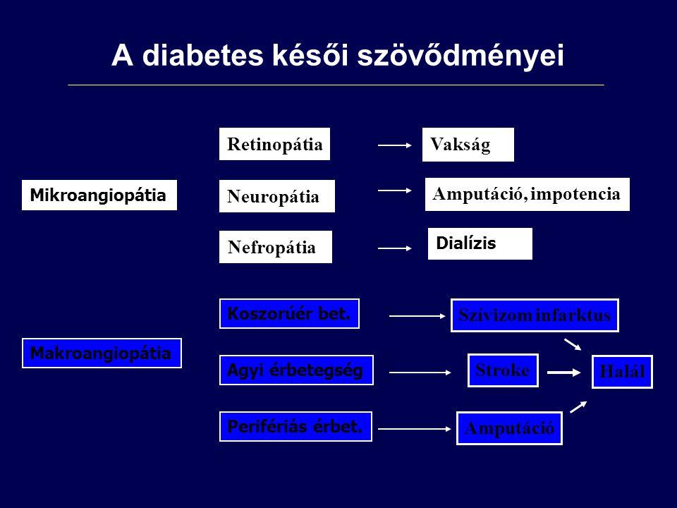 Mikroangiopátia Makroangiopátia Neuropátia Nefropátia Koszorúér bet.