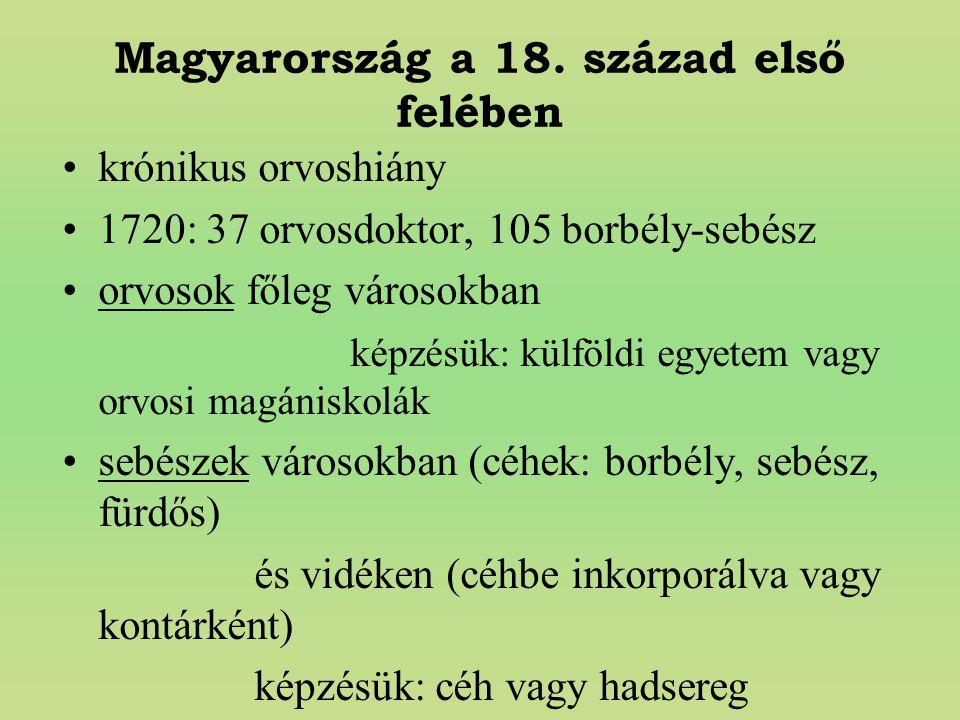 Magyarország a 18. század első felében krónikus orvoshiány 1720: 37 orvosdoktor, 105 borbély-sebész orvosok főleg városokban képzésük: külföldi egyete