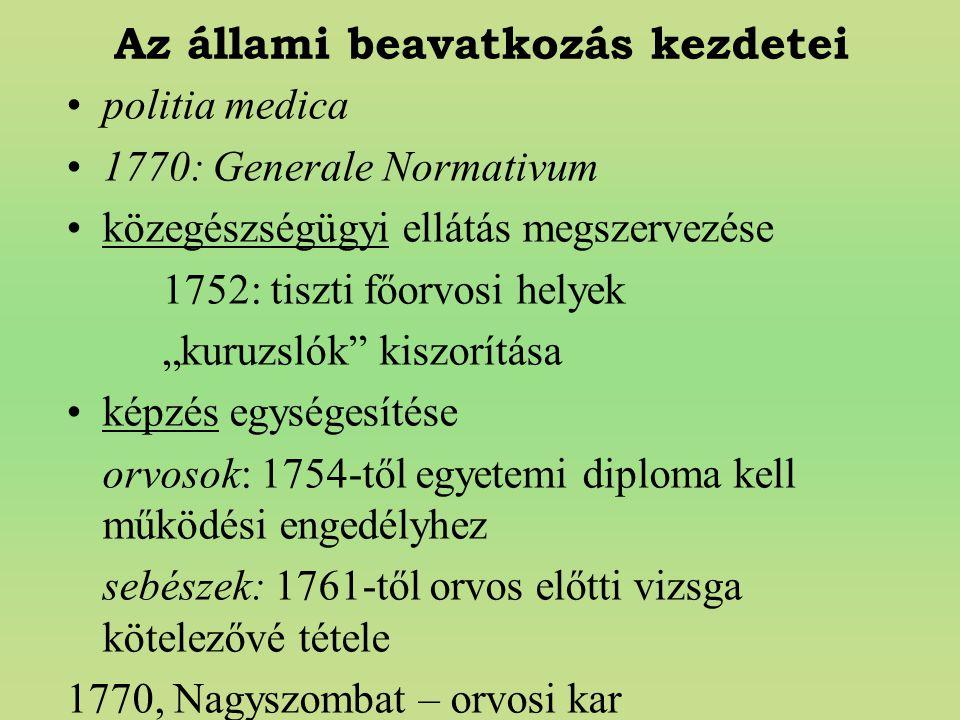 """Az állami beavatkozás kezdetei politia medica 1770: Generale Normativum közegészségügyi ellátás megszervezése 1752: tiszti főorvosi helyek """"kuruzslók"""""""