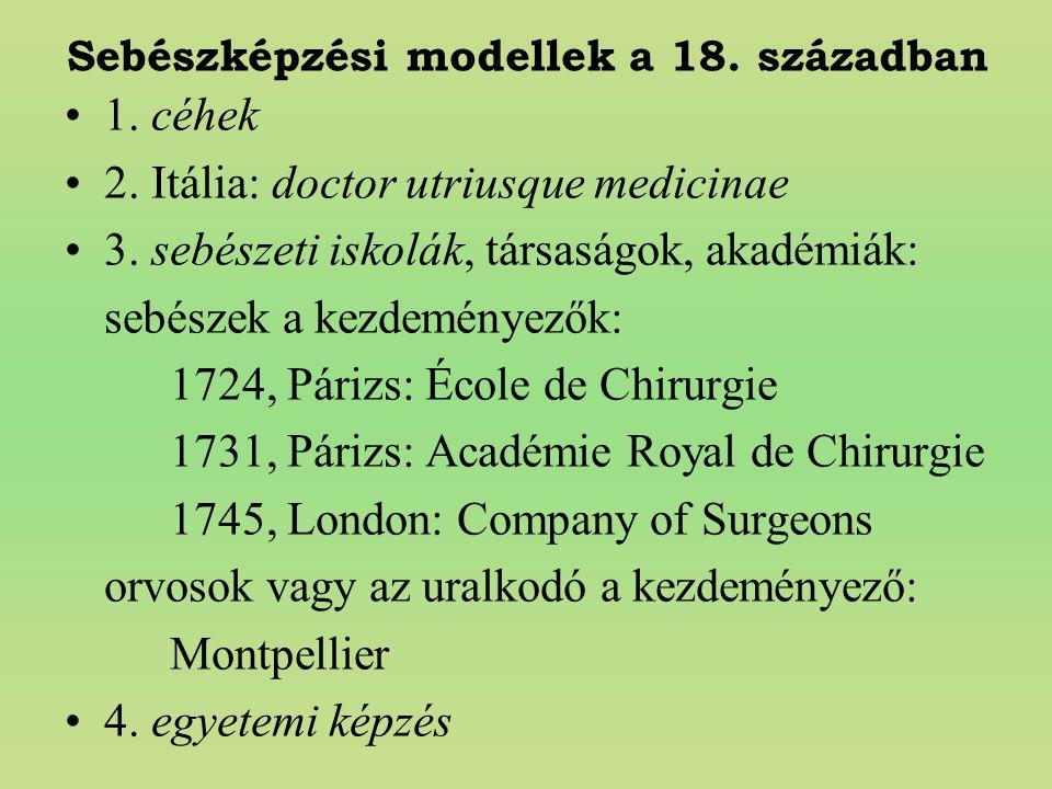Sebészképzési modellek a 18. században 1. céhek 2. Itália: doctor utriusque medicinae 3. sebészeti iskolák, társaságok, akadémiák: sebészek a kezdemén