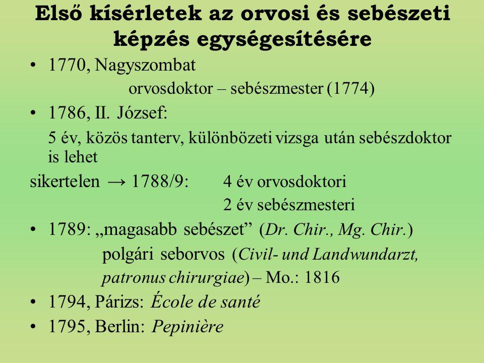 Első kísérletek az orvosi és sebészeti képzés egységesítésére 1770, Nagyszombat orvosdoktor – sebészmester (1774) 1786, II. József: 5 év, közös tanter