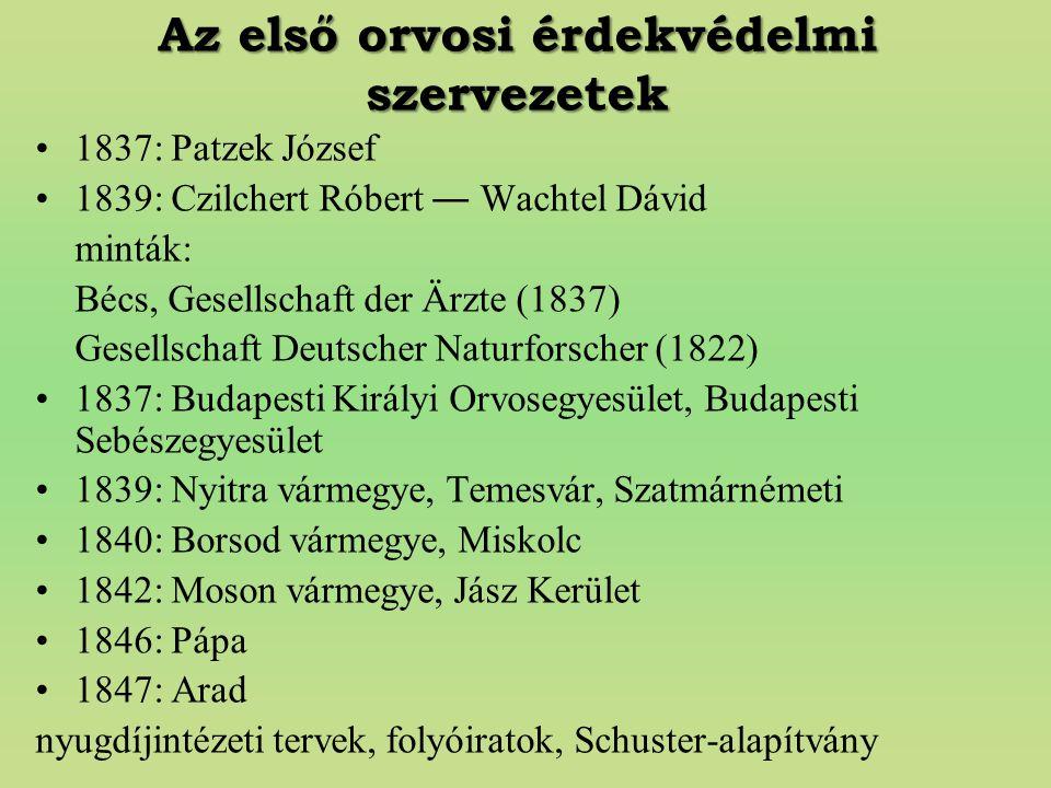 Az első orvosi érdekvédelmi szervezetek 1837: Patzek József 1839: Czilchert Róbert ― Wachtel Dávid minták: Bécs, Gesellschaft der Ärzte (1837) Gesells