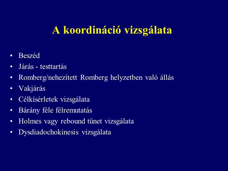 A koordináció vizsgálata Beszéd Járás - testtartás Romberg/nehezített Romberg helyzetben való állás Vakjárás Célkísérletek vizsgálata Bárány féle félr