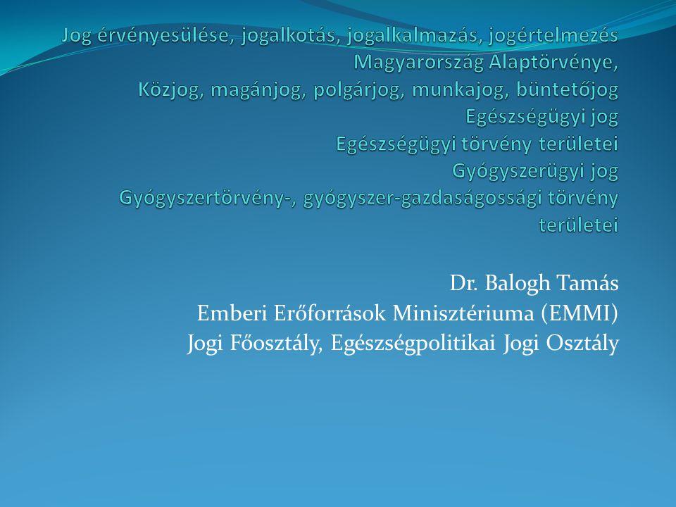 Dr. Balogh Tamás Emberi Erőforrások Minisztériuma (EMMI) Jogi Főosztály, Egészségpolitikai Jogi Osztály
