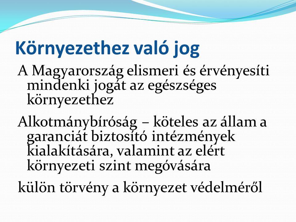 Környezethez való jog A Magyarország elismeri és érvényesíti mindenki jogát az egészséges környezethez Alkotmánybíróság – köteles az állam a garanciát
