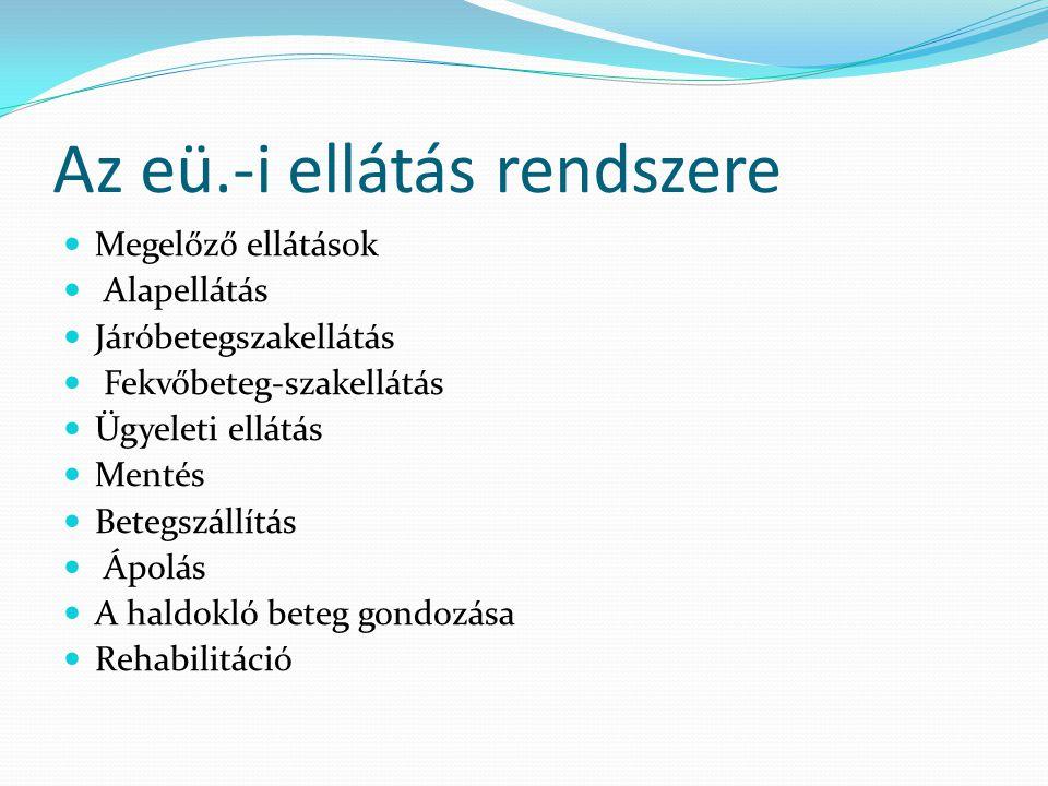 Az eü.-i ellátás rendszere Megelőző ellátások Alapellátás Járóbetegszakellátás Fekvőbeteg-szakellátás Ügyeleti ellátás Mentés Betegszállítás Ápolás A