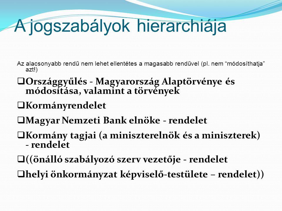 """A jogszabályok hierarchiája Az alacsonyabb rendű nem lehet ellentétes a magasabb rendűvel (pl. nem """"módosíthatja"""" azt!)  Országgyűlés - Magyarország"""