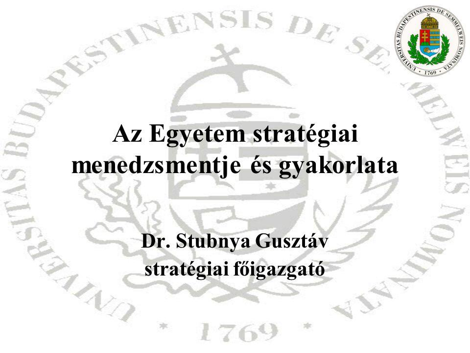 Az Egyetem stratégiai menedzsmentje és gyakorlata Dr. Stubnya Gusztáv stratégiai főigazgató