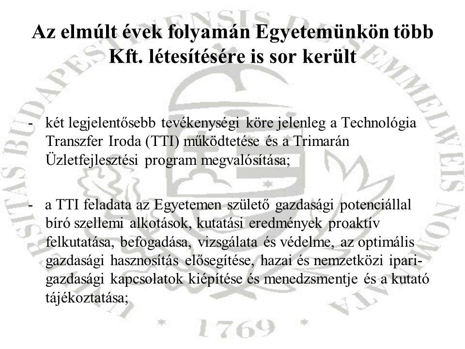 Az elmúlt évek folyamán Egyetemünkön több Kft. létesítésére is sor került -két legjelentősebb tevékenységi köre jelenleg a Technológia Transzfer Iroda
