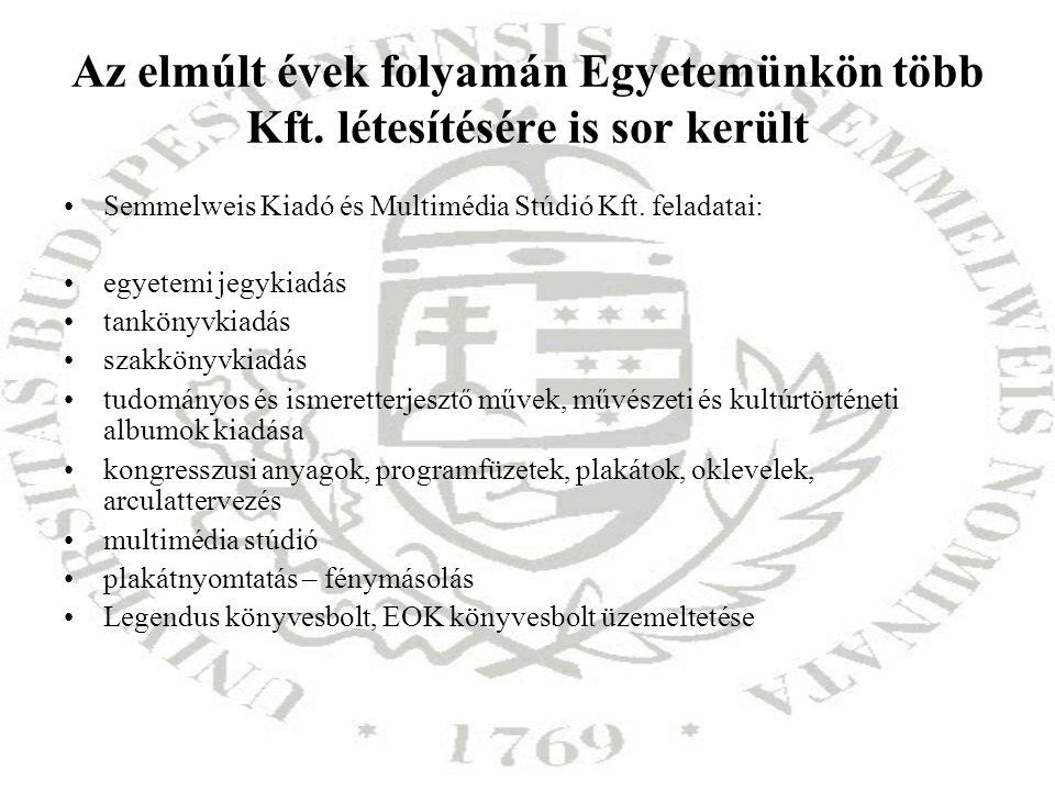Az elmúlt évek folyamán Egyetemünkön több Kft. létesítésére is sor került Semmelweis Kiadó és Multimédia Stúdió Kft. feladatai: egyetemi jegykiadás ta