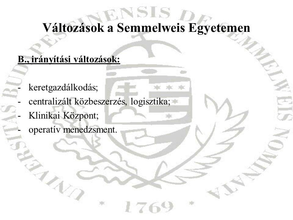 Változások a Semmelweis Egyetemen B., irányítási változások: -keretgazdálkodás; -centralizált közbeszerzés, logisztika; -Klinikai Központ; -operatív m