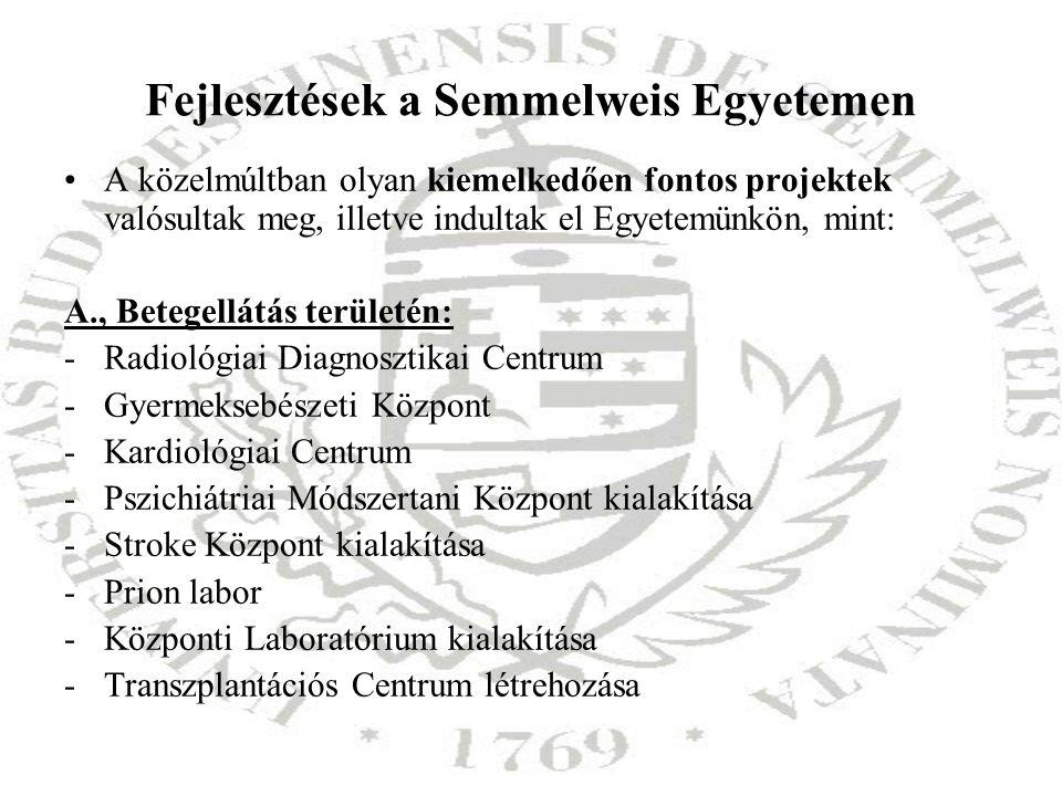 Fejlesztések a Semmelweis Egyetemen A közelmúltban olyan kiemelkedően fontos projektek valósultak meg, illetve indultak el Egyetemünkön, mint: A., Bet
