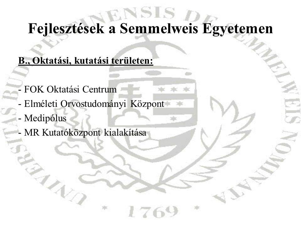 Fejlesztések a Semmelweis Egyetemen B., Oktatási, kutatási területen: - FOK Oktatási Centrum - Elméleti Orvostudományi Központ - Medipólus - MR Kutató