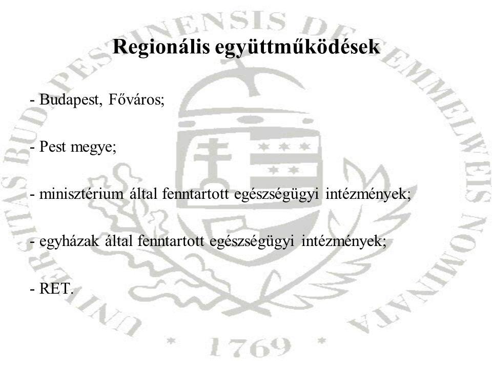 Regionális együttműködések - Budapest, Főváros; - Pest megye; - minisztérium által fenntartott egészségügyi intézmények; - egyházak által fenntartott