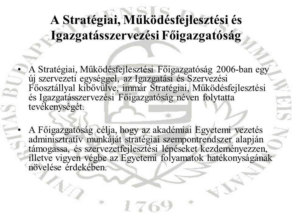 A Stratégiai, Működésfejlesztési és Igazgatásszervezési Főigazgatóság A Stratégiai, Működésfejlesztési Főigazgatóság 2006-ban egy új szervezeti egység