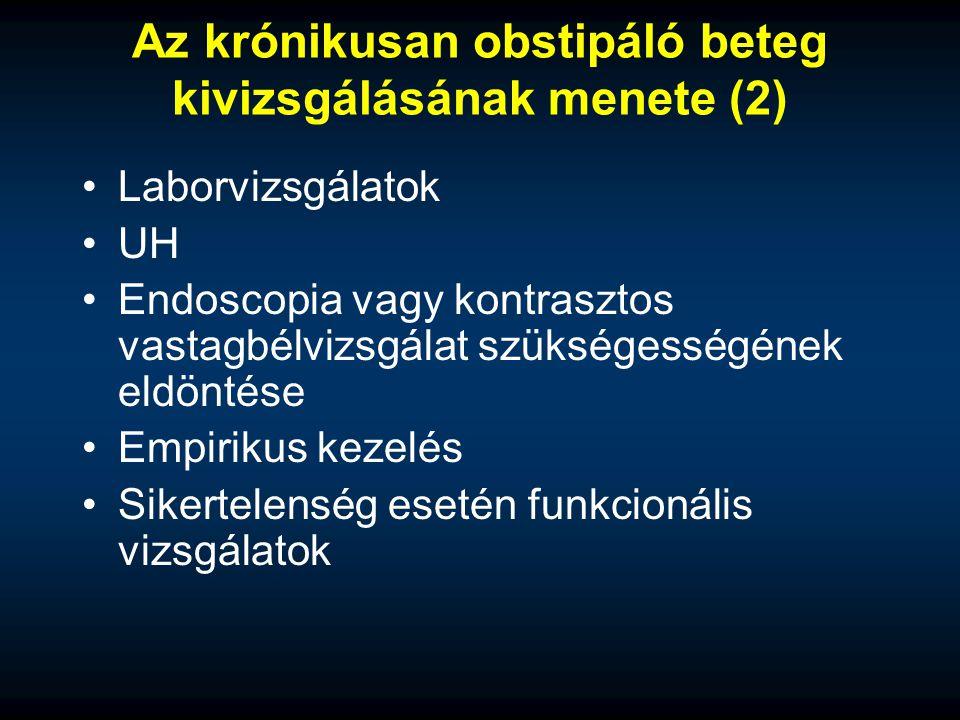 Az krónikusan obstipáló beteg kivizsgálásának menete (2) Laborvizsgálatok UH Endoscopia vagy kontrasztos vastagbélvizsgálat szükségességének eldöntése