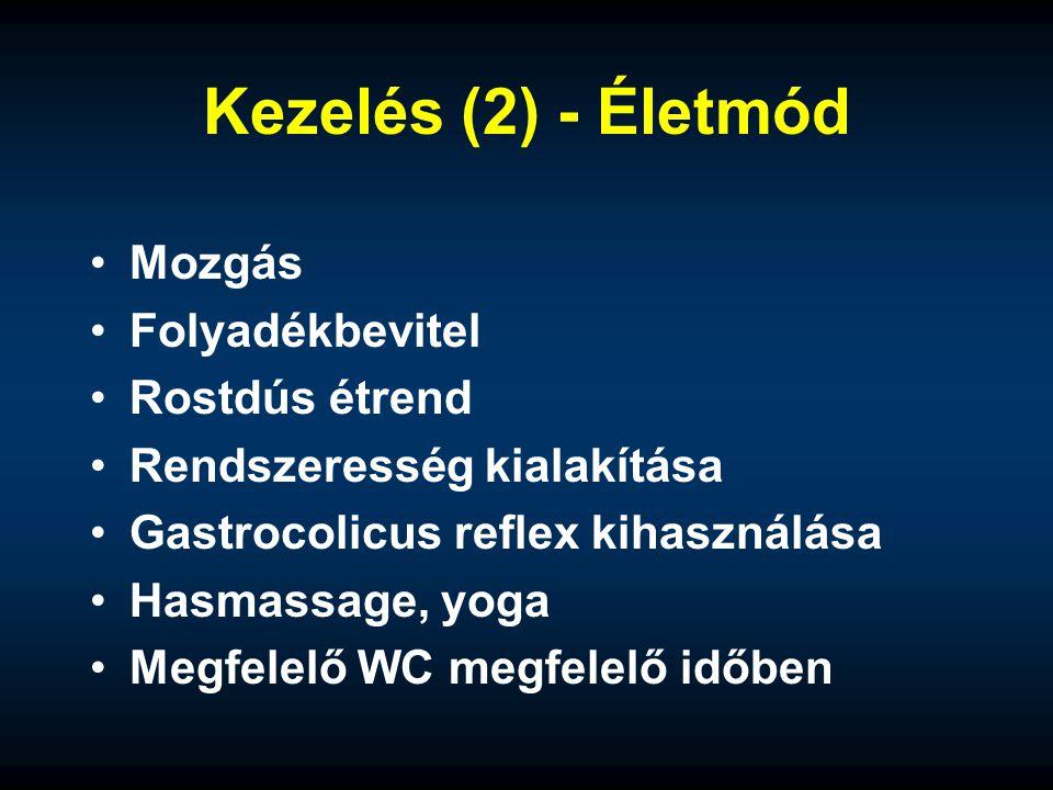 Kezelés (2) - Életmód Mozgás Folyadékbevitel Rostdús étrend Rendszeresség kialakítása Gastrocolicus reflex kihasználása Hasmassage, yoga Megfelelő WC