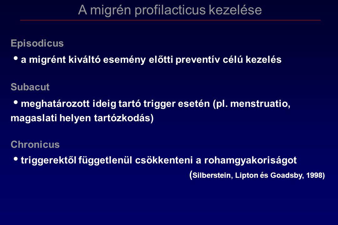 A migrén profilacticus kezelése Episodicus a migrént kiváltó esemény előtti preventív célú kezelés Subacut meghatározott ideig tartó trigger esetén (pl.