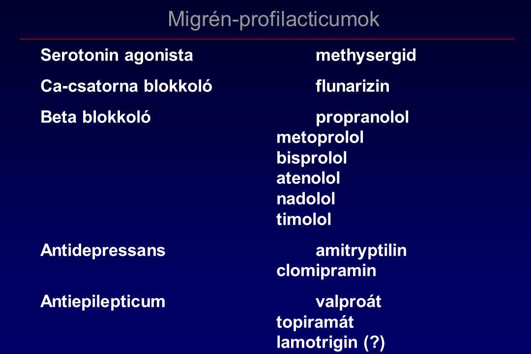 Migrén-profilacticumok Serotonin agonista methysergid Ca-csatorna blokkolóflunarizin Beta blokkolópropranolol metoprolol bisprolol atenolol nadolol timolol Antidepressansamitryptilin clomipramin Antiepilepticumvalproát topiramát lamotrigin (?)