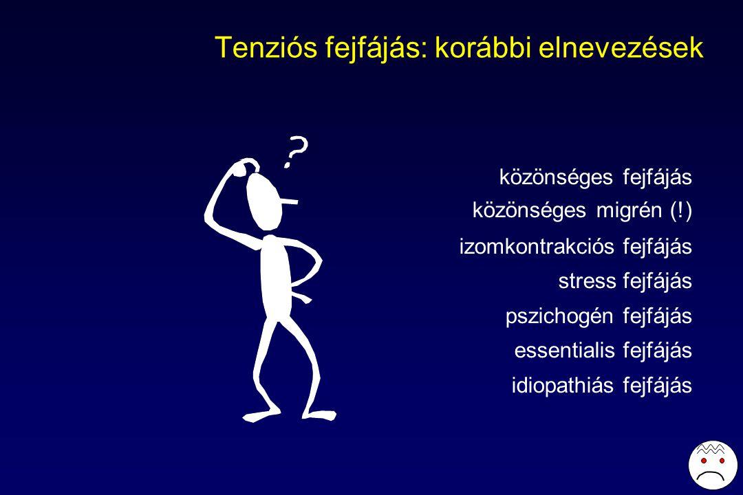 Tenziós fejfájás: korábbi elnevezések közönséges fejfájás közönséges migrén (!) izomkontrakciós fejfájás stress fejfájás pszichogén fejfájás essentialis fejfájás idiopathiás fejfájás